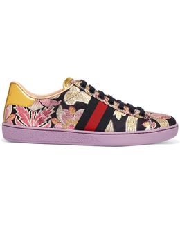 Ace Metallic Leather-trimmed Brocade Sneakers