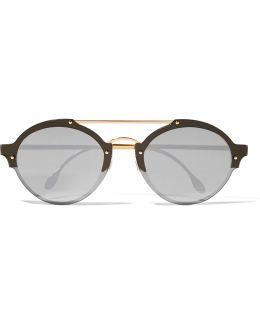 Malpensa Round-frame Acetate And Gold-tone Mirrored Sunglasses