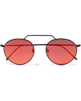Wynwood Ii Round-frame Metal Mirrored Sunglasses