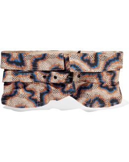Leni Printed Cotton And Linen-blend Waist Belt
