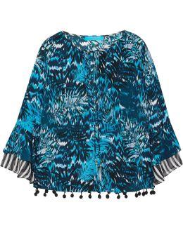Pompom-embellished Printed Silk Crepe De Chine Top