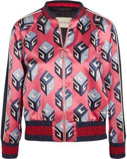Printed Duchesse-silk Bomber Jacket
