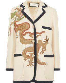 Appliquéd Wool And Silk-blend Blazer