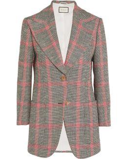 Appliquéd Checked Wool-blend Tweed Blazer