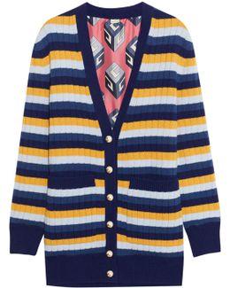 Reversible Striped Wool And Printed Silk Cardigan
