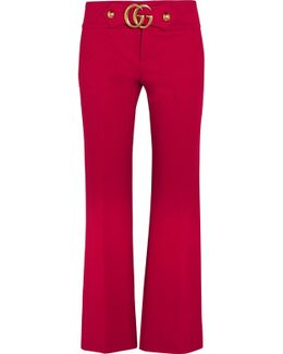 Cropped Embellished Crepe Flared Pants