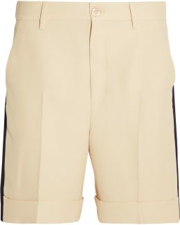 Grosgrain-trimmed Wool-blend Crepe Shorts