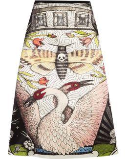 Printed Duchesse Silk-satin Midi Skirt