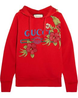 Embroidered Printed Cotton-jersey Hooded Top