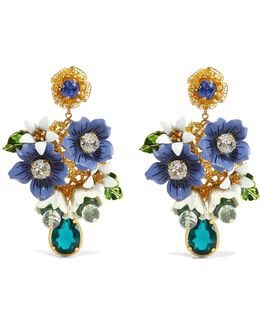 Gold-tone, Crystal And Enamel Clip Earrings