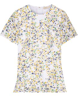 Hayden Printed Broderie Anglaise Cotton Peplum Blouse