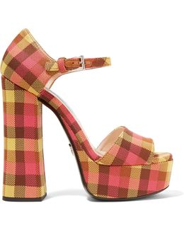 Checked Canvas Platform Sandals