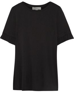 Pleated Chiffon-trimmed Stretch-jersey T-shirt