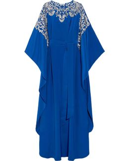 Embroidered Silk Crepe De Chine Gown