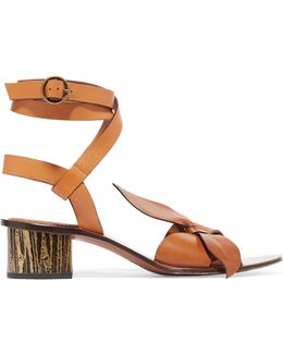 Exclusive Bow-detailed Embellished Leather Sandals