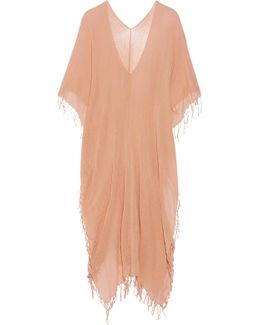 Kacpeh Fringed Cotton-gauze Poncho