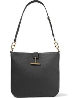 T Clasp Textured-leather Shoulder Bag