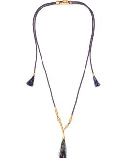 Exclusive Tasseled Gold-tone Cord Necklace