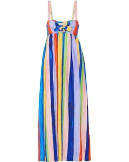 Tie-front Striped Organic Linen Maxi Dress