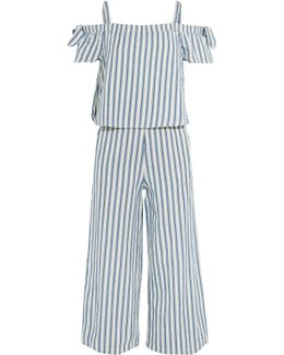 Cold-shoulder Cropped Striped Cotton And Linen-blend Jumpsuit