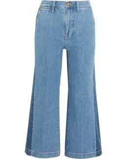 Cropped Striped Wide-leg Jeans