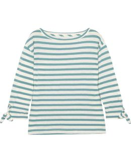 Marisol Striped Slub Cotton And Linen-blend Top