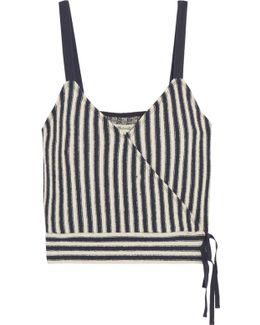 Chloe Striped Cotton-blend Wrap Top