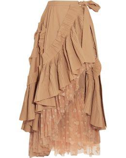 Ruffled Pleated Cotton-blend Poplin And Polka-dot Tulle Midi Skirt