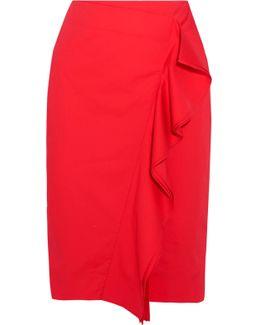 Ruffled Cotton-blend Poplin Skirt