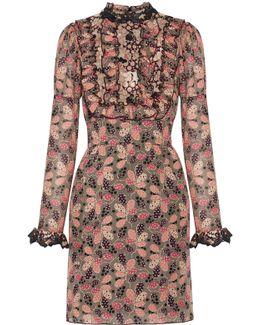 Ruffled Printed Cotton And Silk-blend Mini Dress