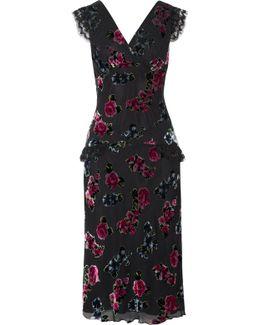 Lace-trimmed Floral-print Devoré-chiffon Midi Dress