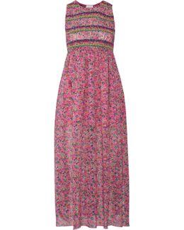 Smocked Printed Silk-georgette Midi Dress