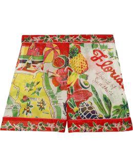Florida Printed Silk-jacquard Shorts