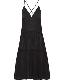 Tiered Organic Cotton-gauze Midi Dress
