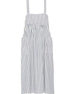 Embroidered Organic Cotton Midi Dress
