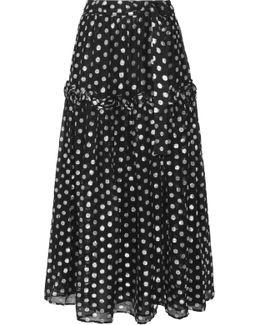 Sebastian Ruffle-trimmed Metallic Fil Coupé Georgette Maxi Skirt