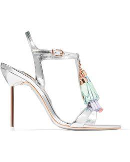 Layla Tasseled Mirrored-leather Sandals