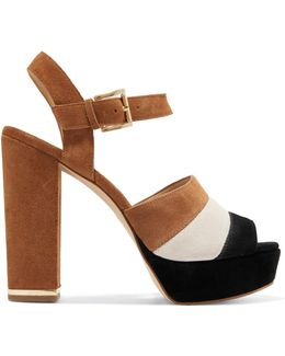 Anise Striped Suede Platform Sandals