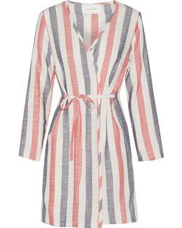 The Erin Striped Cotton-blend Gauze Robe