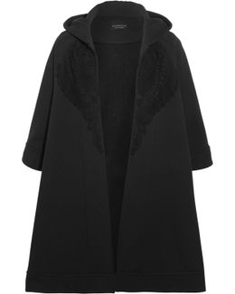 Lace-trimmed Cotton-blend Jersey Hooded Cape