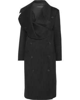 Draped Double-breasted Wool-felt Coat