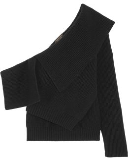 One-shoulder Ribbed Wool And Cashmere-blend Sweater
