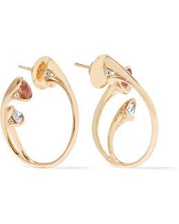 Sepals 18-karat Gold, Diamond And Topaz Earrings
