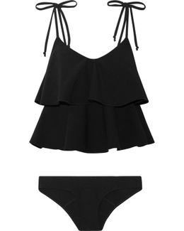 Imaan Ruffled Stretch-crepe Bikini