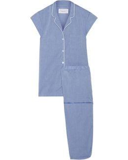Poppy Embroidered Cotton-poplin Pajama Set