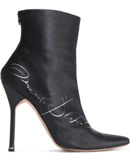 Manolo Blahnik Printed Satin Ankle Boots