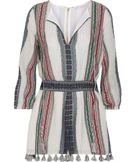 Nance Tassel-trimmed Embroidered Cotton-gauze Playsuit