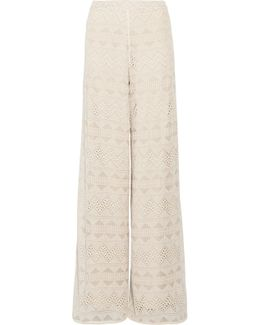 Athena Embroidered Silk-voile Wide-leg Pants
