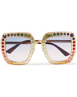 Crystal-embellished Square-frame Gold-tone Sunglasses