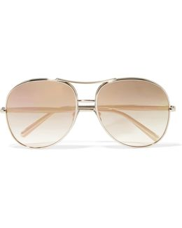 Nola Aviator-style Gold-tone Mirrored Sunglasses
